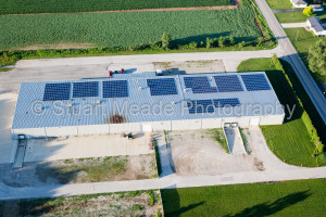 Solar cells on Roof in Aerial photo by Stuart Meade Photography