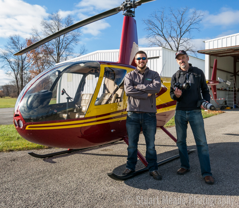 Stuart Meade with pilot Spencer ready to take pictures of General Motors Plant in Toledo