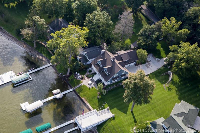 Lake home aerial photo