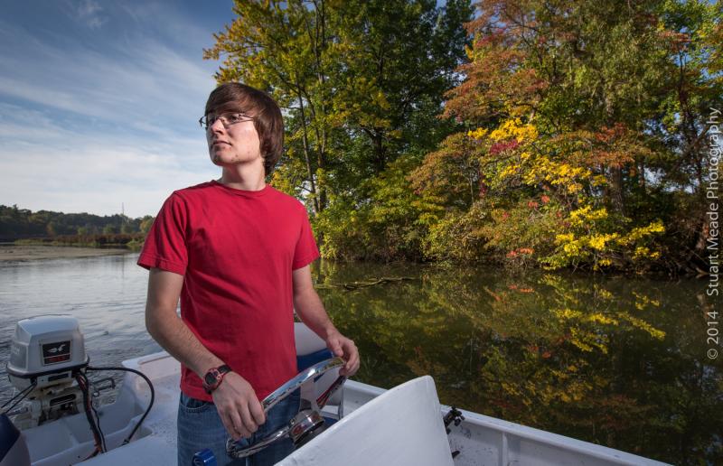 Senior photo in boat